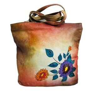 🌈 Tiedye Handpainted Floral Leather Tote Boho